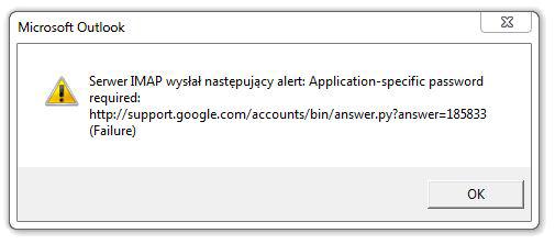 Serwer IMAP wysłał następujący Alert