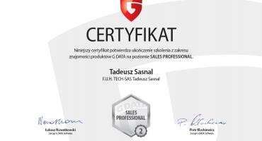 Certyfikat Sales Associate i Sales Professional od G Data
