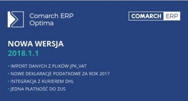 Pojawiła się nowa wersja Comarch ERP Optima 2018.1.1