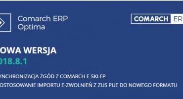 Nowa wersja Comarch ERP Optima 2018.8.1 – jest już dostępna!