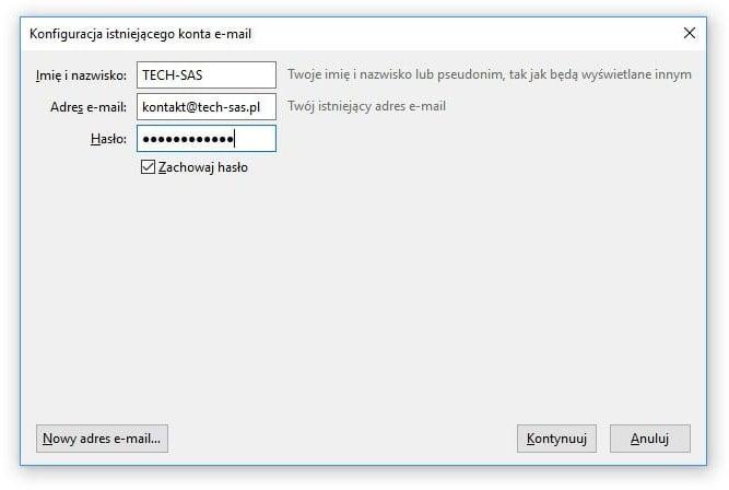 74ba50cf035a46 Nowe konto można również dodać, klikając nazwę istniejącego konta i w  sekcji Konta, klikając Email w podsekcji Utwórz konfigurację konta…