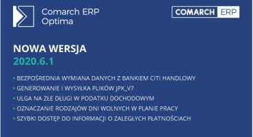 Nowa wersja Comarch ERP Optima 2020.6.1 i Comarch HRM 2020.5.1