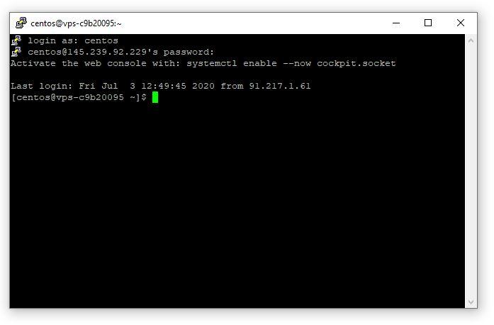 Pierwsze logowanie do serwera VPS